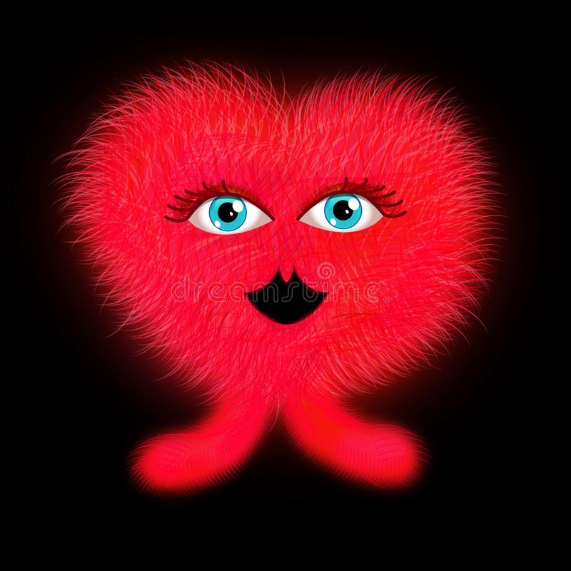 Red furry heart shape monster royalty free stock images