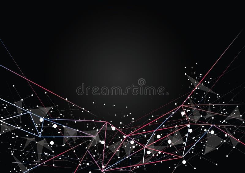 Red futurista de la tecnología blanco y negro geométrica libre illustration