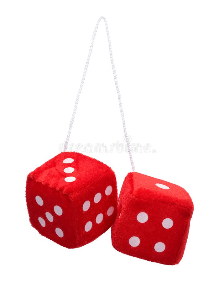 Fuzzy Dice. Red Fuzzy Hanging Dice Isolated on White Background royalty free stock images