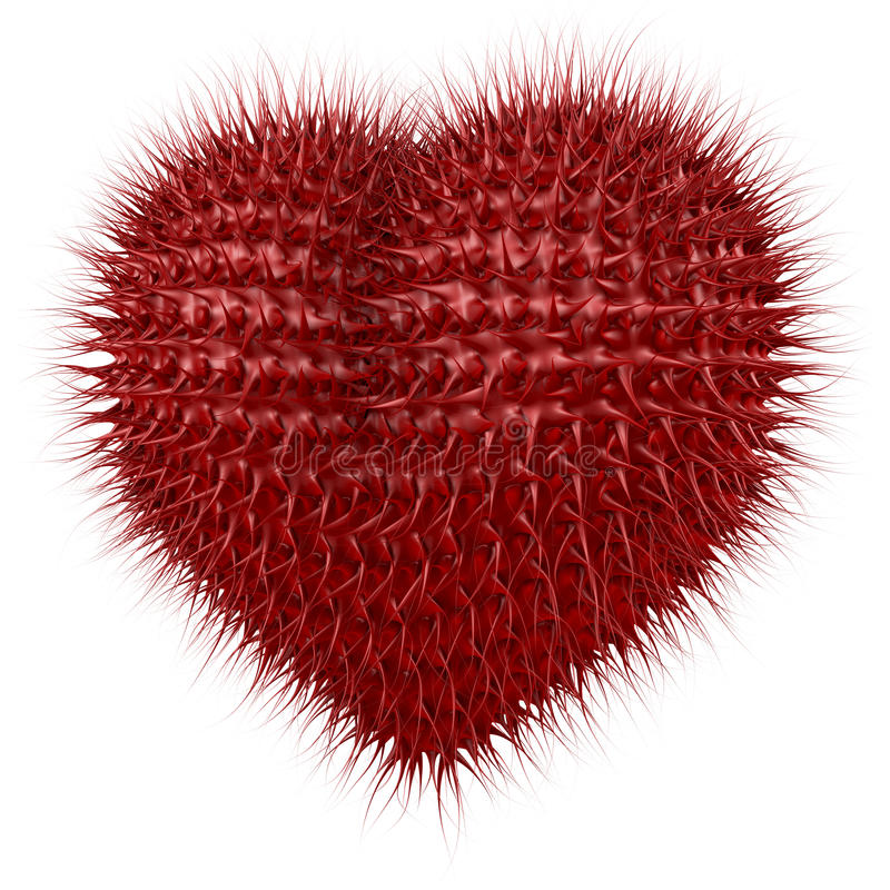 Fuzzy Black Background : Red fuzzy heart with tentacle like spikes stock photos