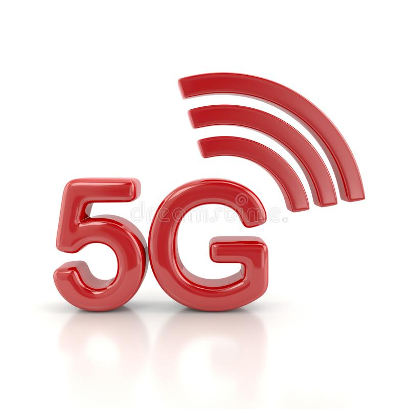 Red 5g wireless network icon 3d illustration stock illustration