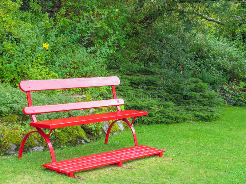 Download Red Garden Bench Stock Image. Image Of Comfort, Grass   47372219