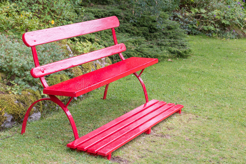 Amazing Download Red Garden Bench Stock Image. Image Of Bank, Growth, Nobody    47372239