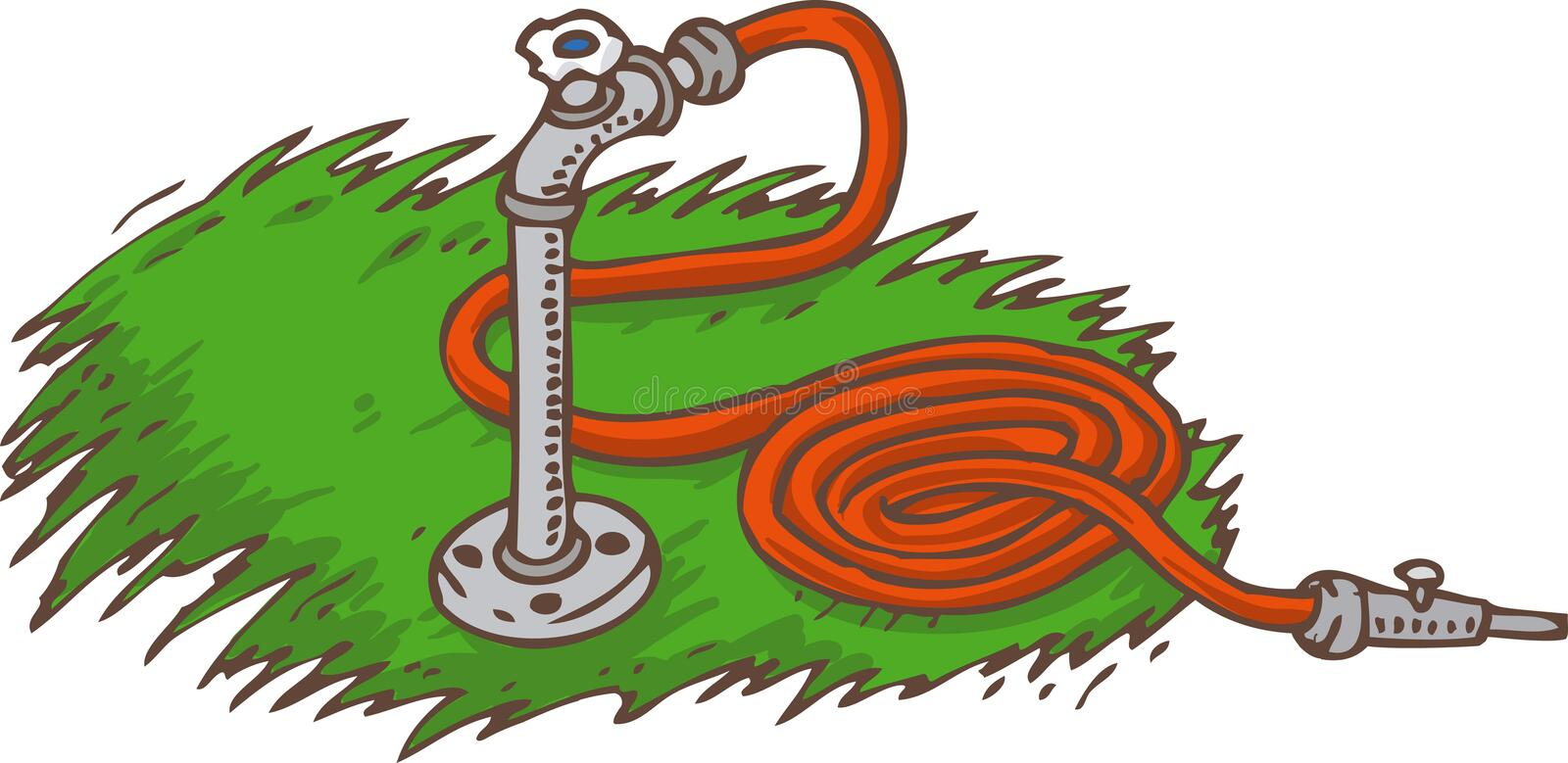 Red Garden Hose on A Green Grass royalty free illustration