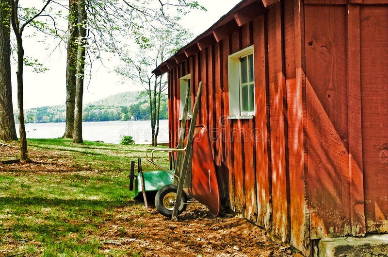 Download Red Garden Shed/Wheelbarrows Stock Image - Image: 9171111