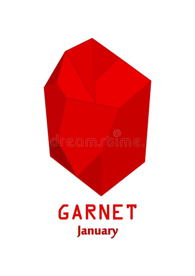 Red garnet gem stone, Red crystal, Gems and mineral crystal vector, January birthstone gemstone royalty free illustration