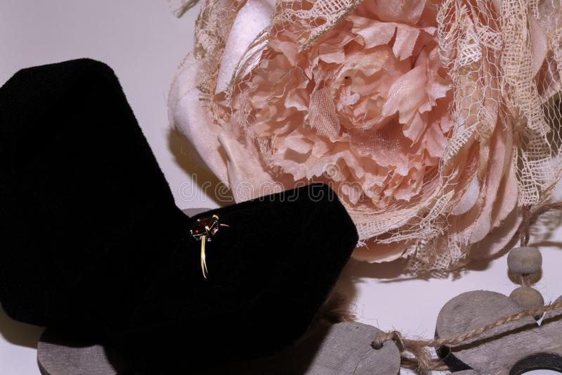 Garnet silver ring natural stone royalty free stock image