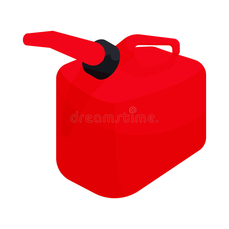 Red gas can icon, cartoon style vector illustration