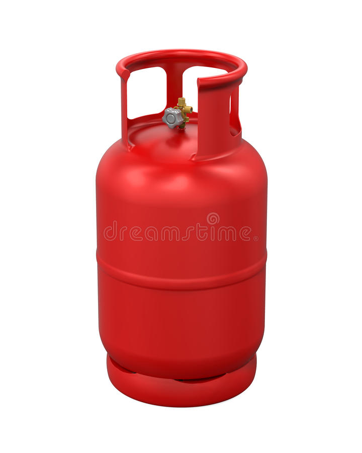 Red Gas Cylinder Isolated stock illustration. Illustration