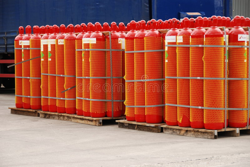 Red gas cylinders royalty free stock photography