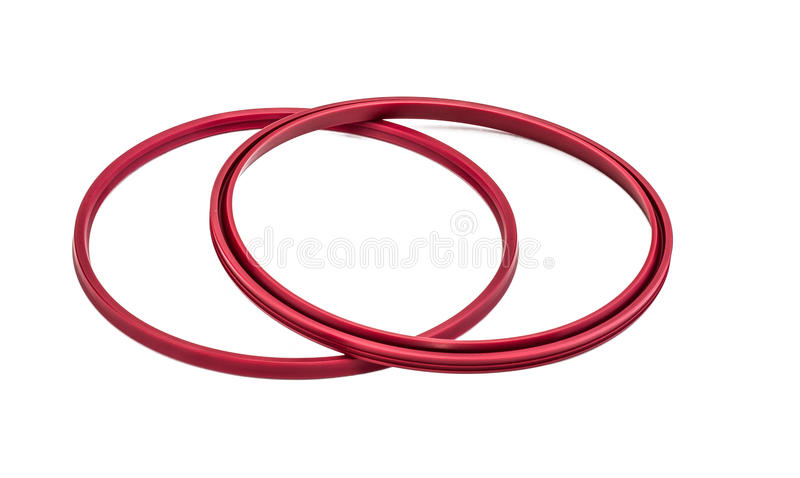 Red gaskets isolated on white background stock image