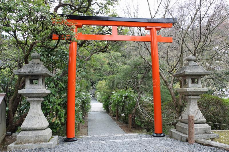 Red gate in Japan Torii. Culture stock photos