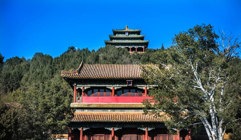 Red Gate Prospect Hill Pagoda Jingshan Park Beijing China. Red Gate Prospect Hill Pagoda Pavilion Jingshan Park Beijing, China. Part of the Forbidden City, later stock photos