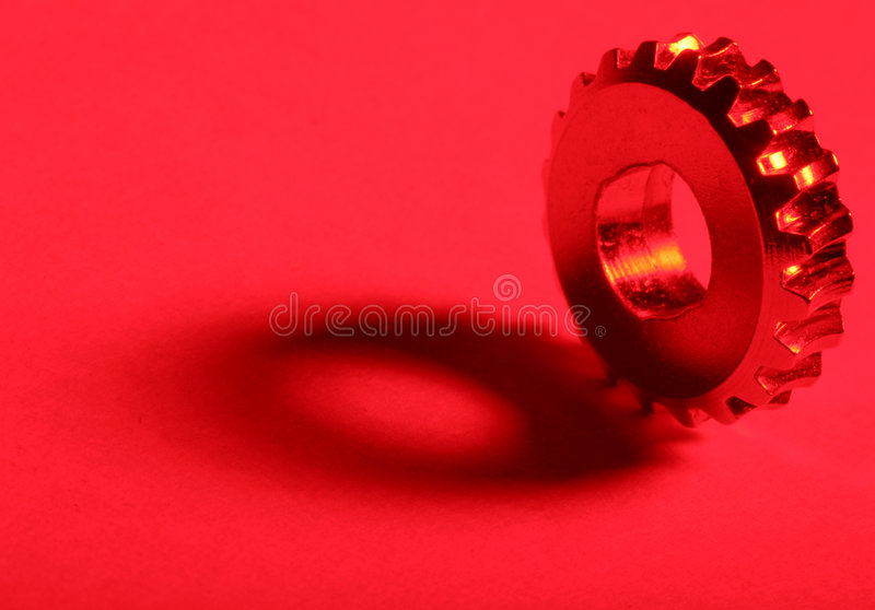 Red Gear 2. Gear with red gel stock photo