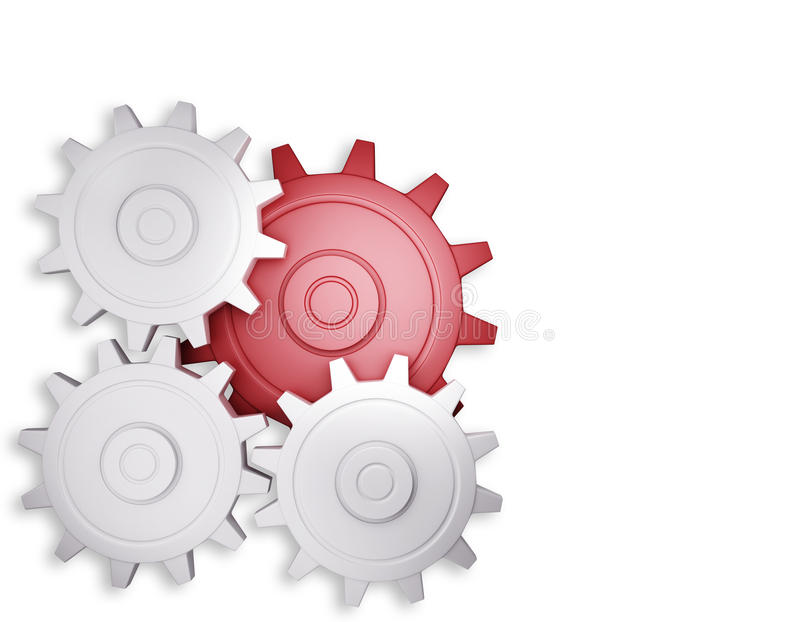 Red gear and white gear vector illustration
