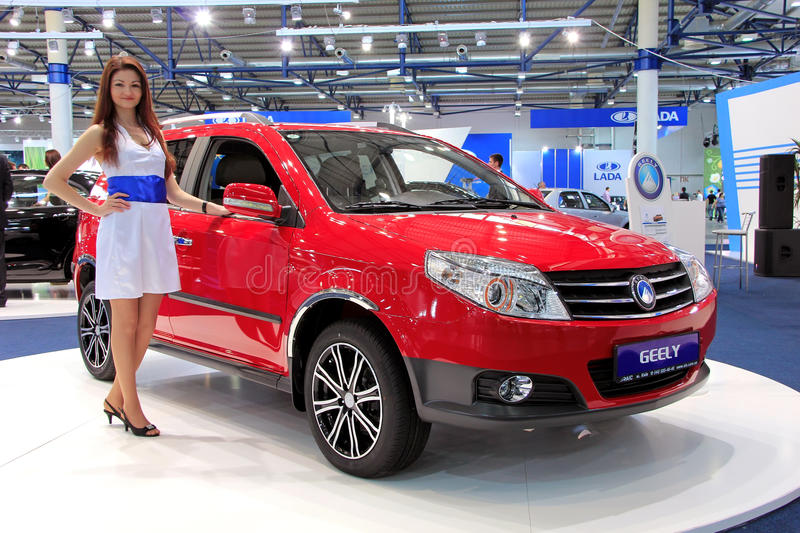 Red Geely MK Cross. KIEV - SEPTEMBER 10: Red Geely MK Cross at yearly automotive-show Capital auto show 2011. September 10, 2011 in Kiev, Ukraine royalty free stock photo