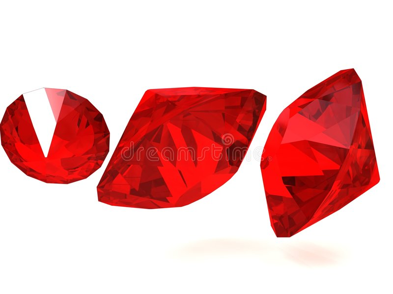 Red Gems. Three red ruby like gemstones isolated on a white background royalty free illustration