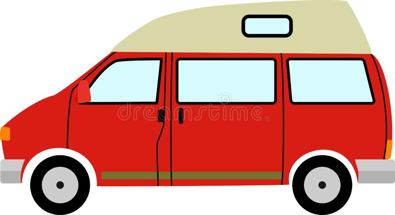 Red Generic Retro Camper Van Cartoon royalty free illustration