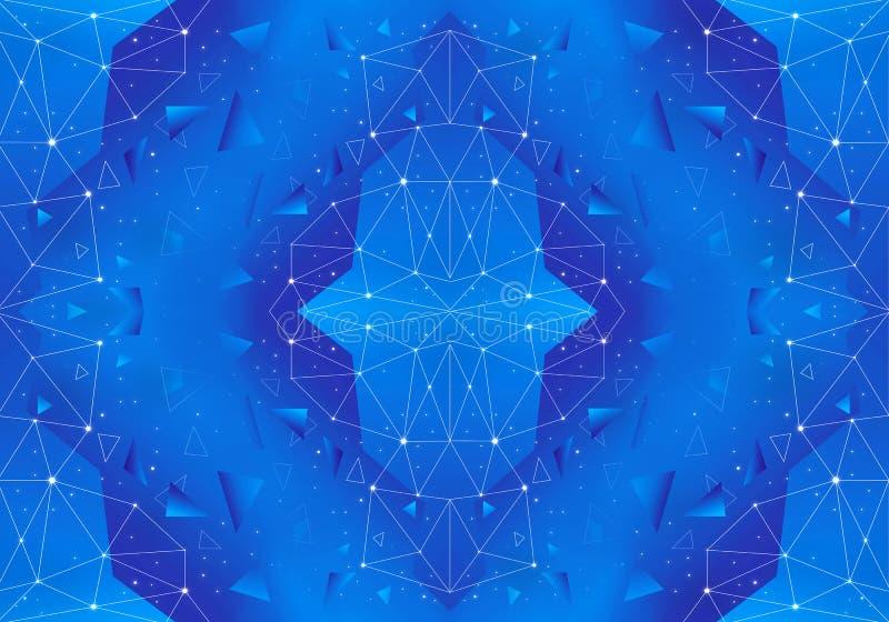 Red geométrica única del extracto artístico en un fondo azul stock de ilustración