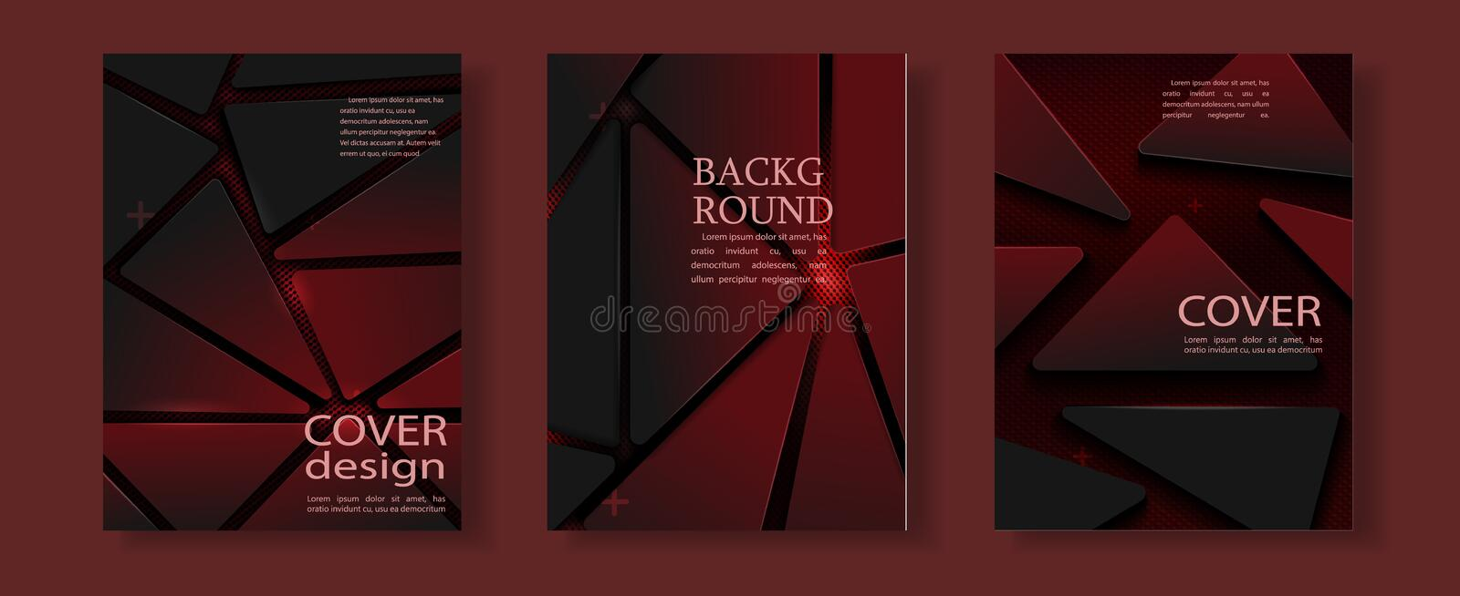 Red geometric flyer cover business brochure vector design, Leaflet advertising abstract background stock illustration