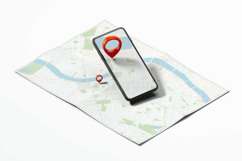 Red geotag or map pin in mobile phone on realistic map. 3d rendering. Red geotag or map pin in black mobile phone on realistic map. 3d rendering royalty free stock images