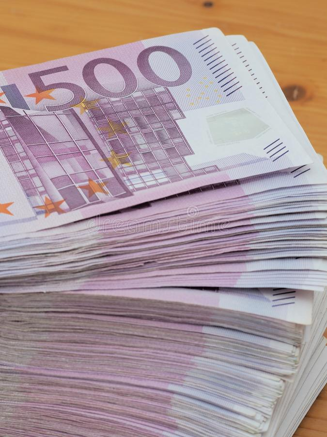 Red German 500 Euro notes in a large stack royalty free stock images