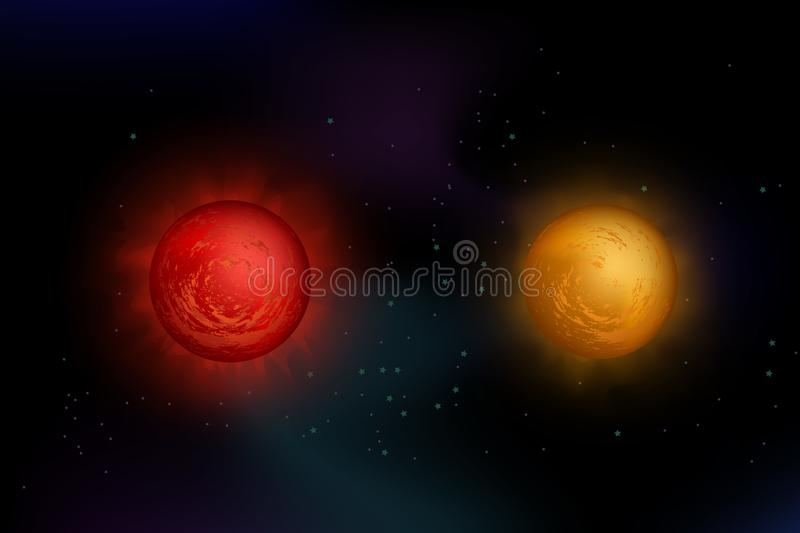 Red giant. Illustration with two stars: red giant and red supergiant on space background with stars. Made of gradient meshes, fully editable vector illustration