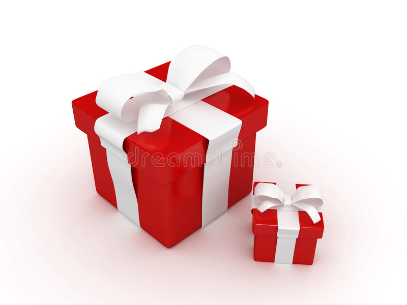 Red gift. With blank note paper-3d rendered stock illustration