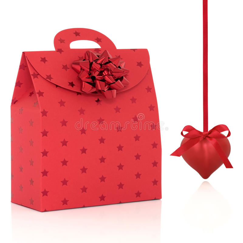 Red Gift Bag and Heart Shaped Bauble stock photo