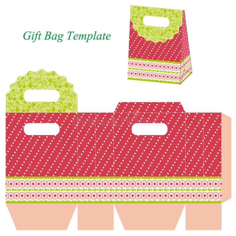 Red Gift Bag Template With Dots And Ribbon Stock Vector ...
