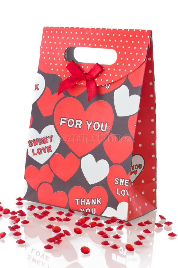 Free Red Gift Bag With Hearts, On White Stock Image - 23319541