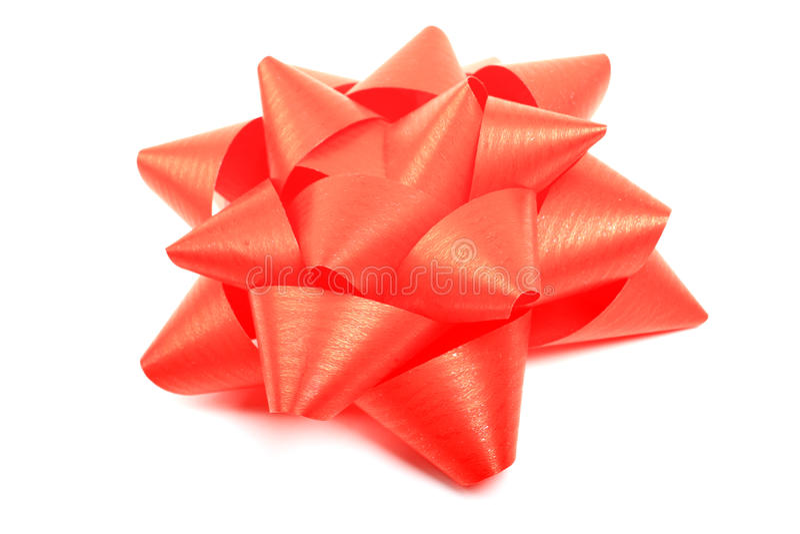 Red Ribbon Christmas Gift Bow Isolated On White Background Shiny