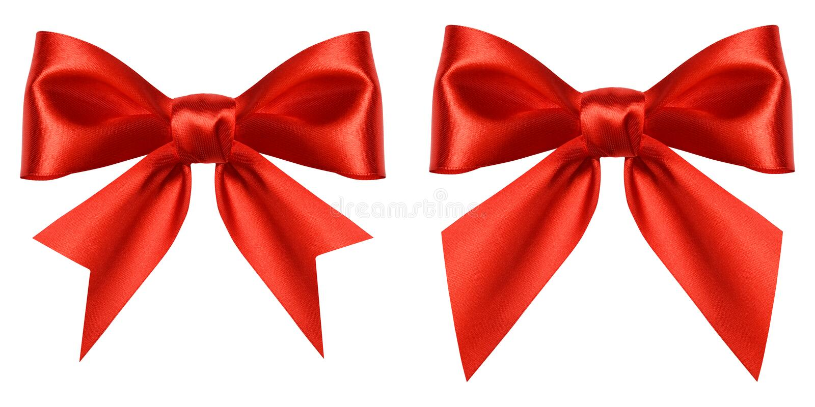 Red gift bow isolated on white background. Ribbon bow of shiny satin closeup. Holiday Christmas decoration as design. Element stock photography