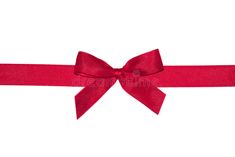 Red gift bow with ribbon. stock photos