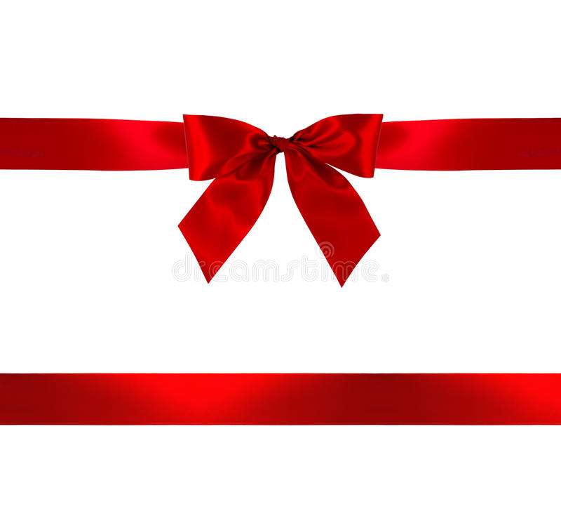 Red gift bow and ribbon stock photos