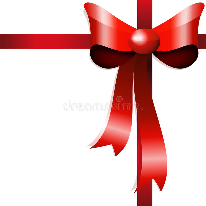 Red gift bow with ribbons. vector illustration
