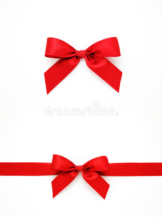 Red gift bows and ribbon stock photography