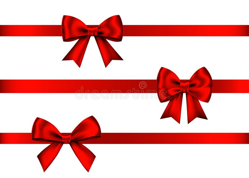 Red gift bows set for Christmas, New Year decoration royalty free illustration
