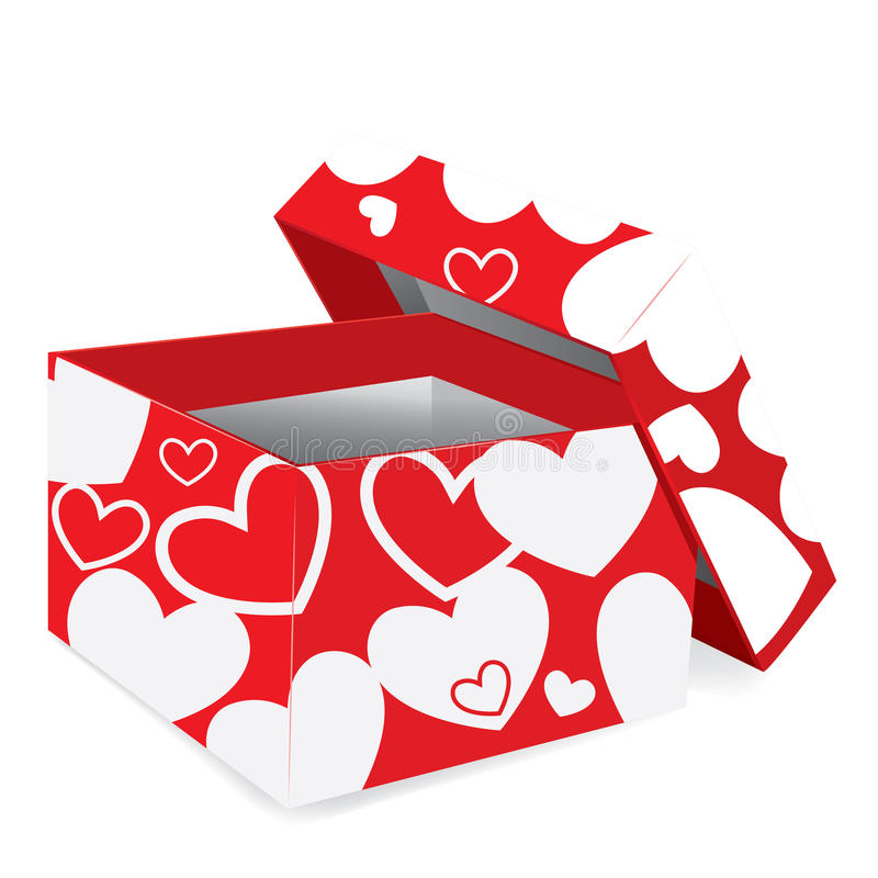 Red gift box. With hearts. Vector illustration vector illustration