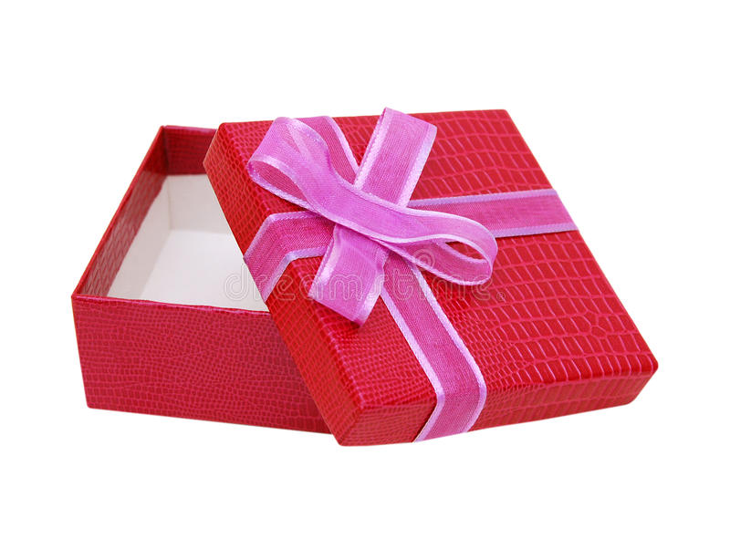 Red gift box. Opened empty red gift box with copy space, lid, and bow on a white background royalty free stock photos