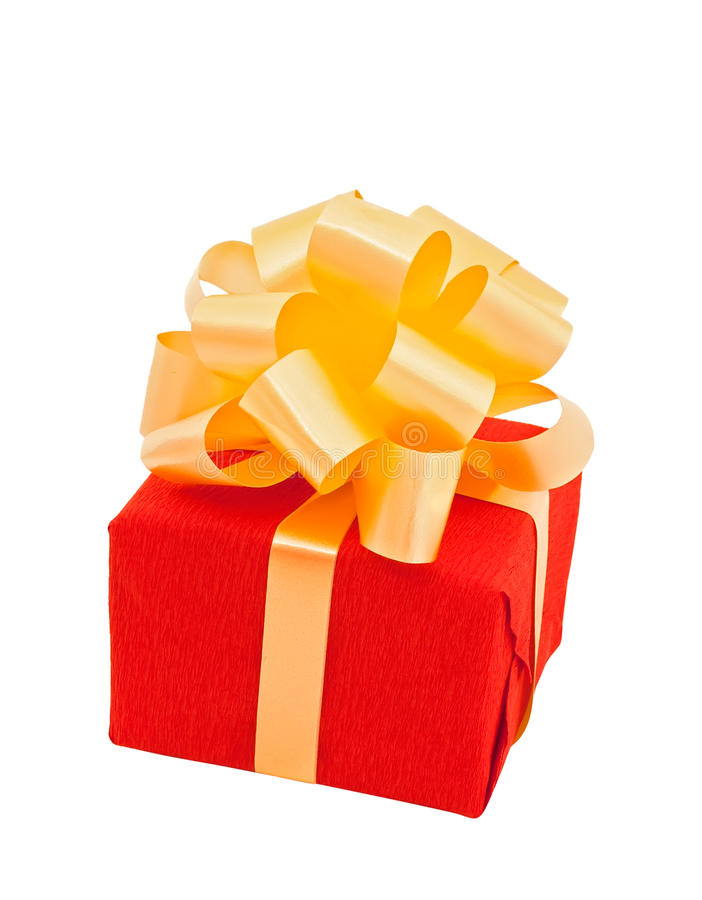 Red Gift Box  With Beige Bow Stock Images
