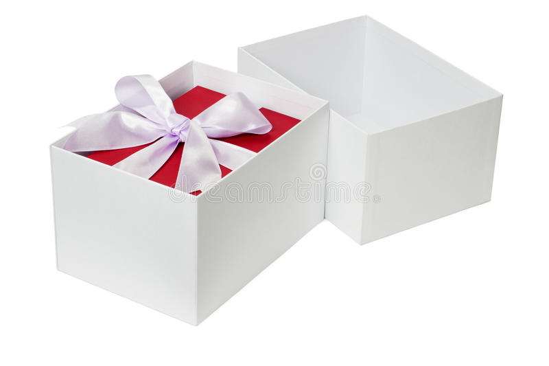 Red gift box with bow ribbon. Inside open white package royalty free stock photo
