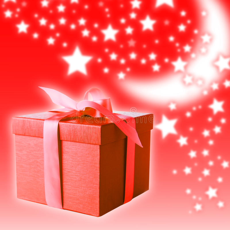 Red gift box. On christmas background stock photo