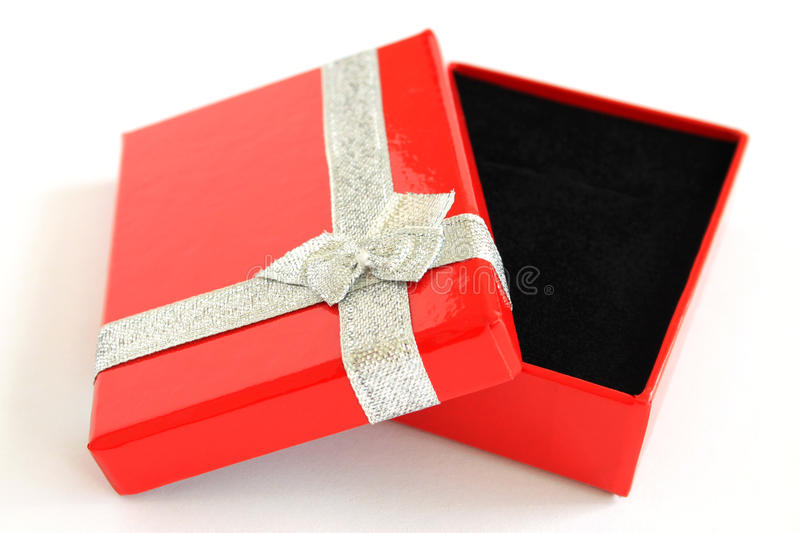 Red Gift Box. For Christmas isolated on white royalty free stock photos