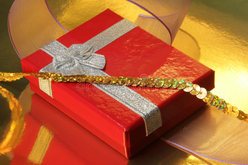 Red gift box. A gift for Christmas, wedding, birthday and Valentine's day stock photo