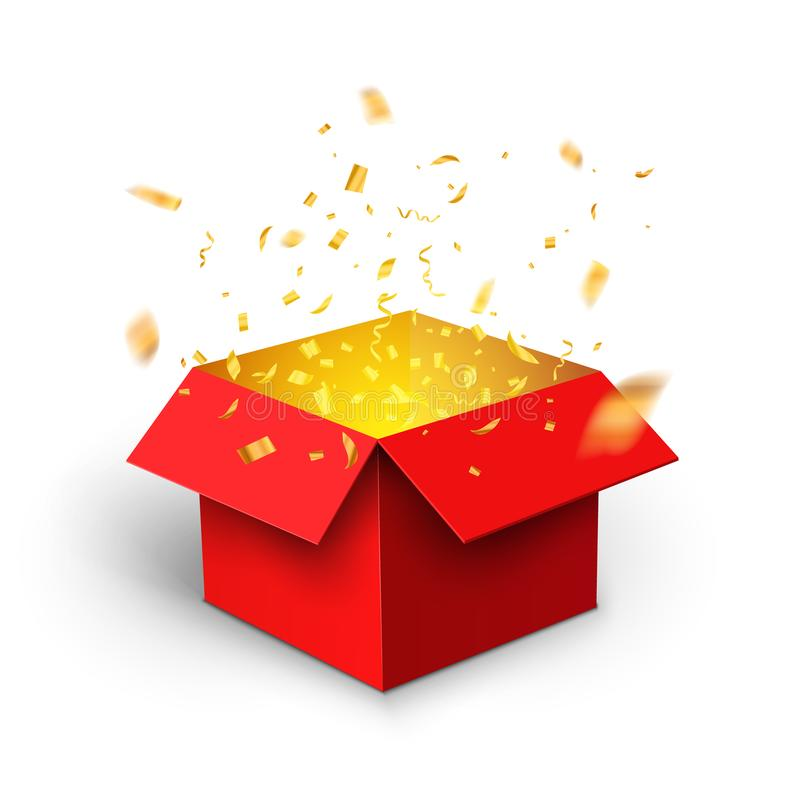 Free Red Gift Box Confetti Explosion. Magic Open Surprise Gift Box Package Decoration Royalty Free Stock Photo - 140384105