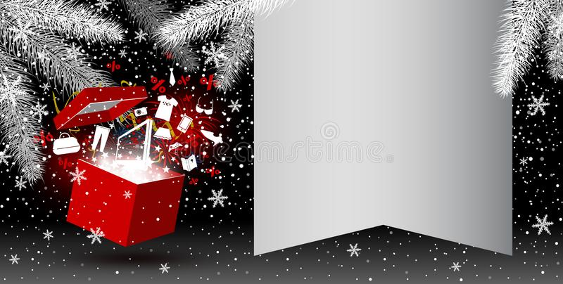 Red gift box with fashion icon and firework. On christmas background with copy space vector illustration