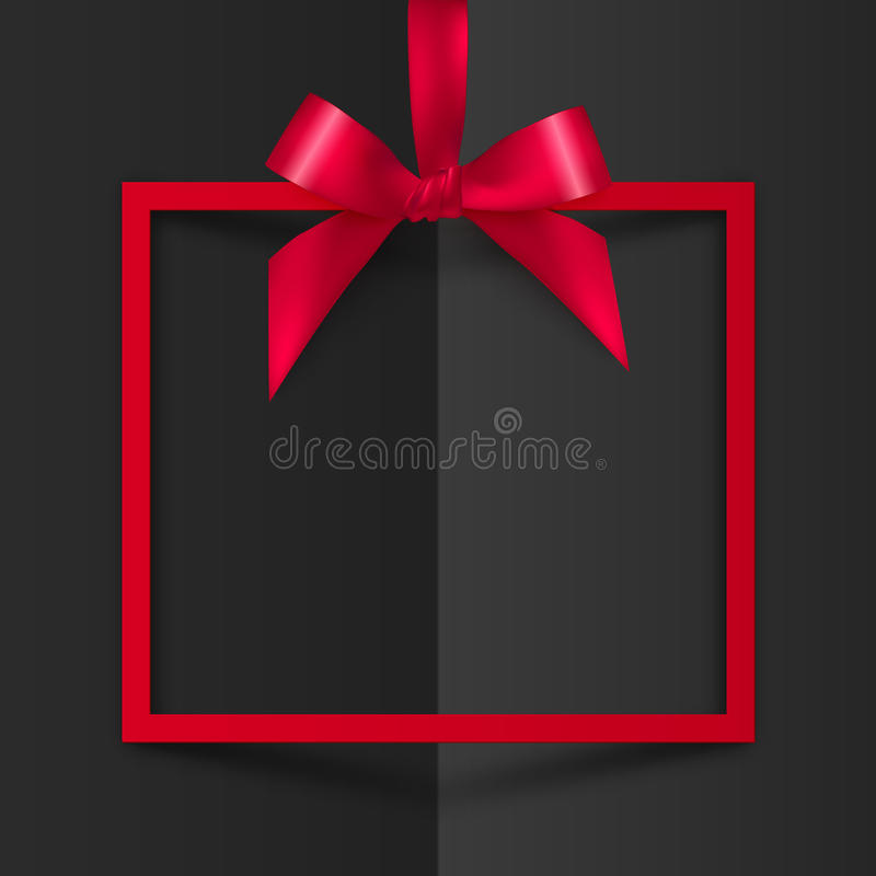 Red gift box frame with silky bow and ribbon vector illustration