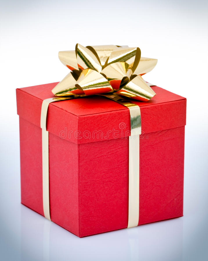 Download Red gift box with gold bow stock photo. Image of gold - 14175716