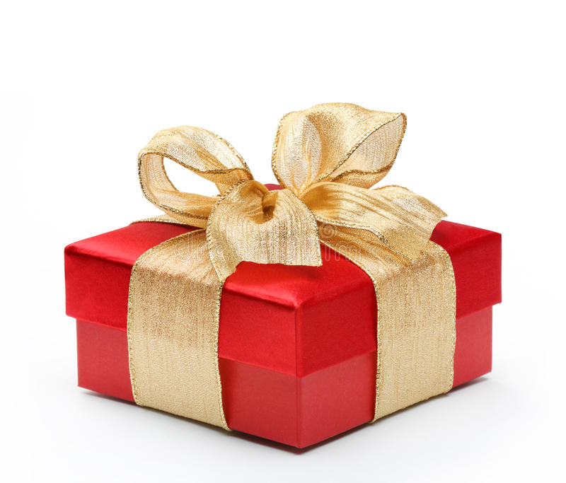 Red gift box with gold ribbon bow stock image